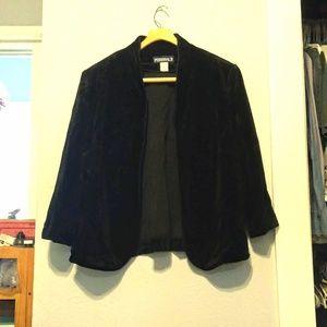 vintage 80s black velvet open front blazer